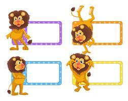 Label Design mit niedlichen Löwen vektor