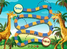Spielschablone mit Giraffe im Dschungelhintergrund vektor