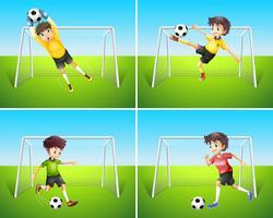 En uppsättning fotbollsspelare och mål