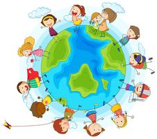 Många barn runt om i världen vektor