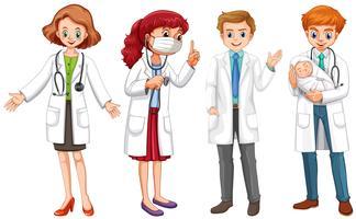 Manliga och kvinnliga läkare i uniform vektor
