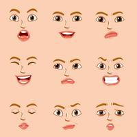 Ansiktsuttryck för kvinnlig karaktär vektor