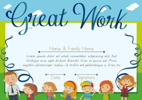 Certifikatdesign med barn och lärarbakgrund vektor
