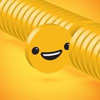 Gelber hoher ausführlicher Emoticon der Scheibe 3D ausgewählt, Vektorillustration
