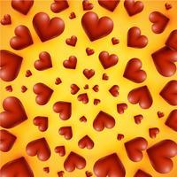 Hohe ausführliche Herzen auf einem gelben Hintergrund, Vektorillustration