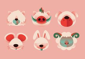 Enkel form Animal Head Set Vector Illustration