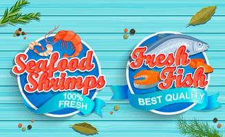 Meeresfruchtlogos auf blauem hölzernem Hintergrund