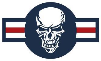 Militär flygplan emblem med skalle roundel färg vektor illustration