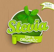 Stevia etikett, logotyp, klistermärke.