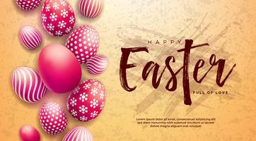 Glückliche Ostern-Illustration mit Rot gemaltem Ei und Typografie-Buchstaben auf Schmutzhintergrund.