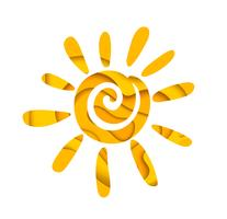 Abstrakt sommarsol. Logotypdesign.