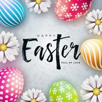 Glückliche Ostern-Illustration mit bunter gemalter Ei- und Frühlingsblume