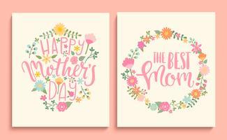 Set glückliche Karten der Mutter Tages. vektor
