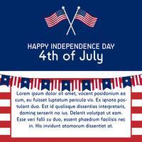 Textvorlage 4. Juli Unabhängigkeitstag Vereinigte Staaten von Amerika im Verhältnis 1: 1 mit amerikanischer Flagge vektor