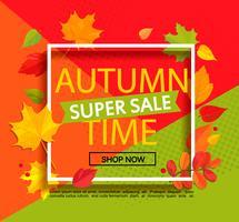Herbst super Verkauf Banner. vektor