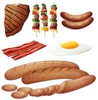 Set von Fleischerzeugnissen vektor