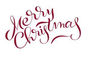 Text der frohen Weihnachten lokalisiert auf weißem Hintergrund. Kalligraphie-Schriftzug