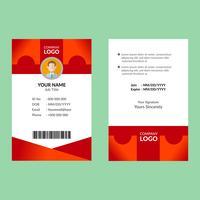 Röd ID-kortmall vektor