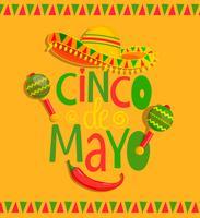 Handtecknad bokstäver - Cinco De Mayo. vektor