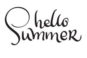 Hallo Sommervektortext auf weißem Hintergrund. Kalligraphiebeschriftungsillustration EPS10