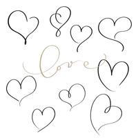 uppsättning blommor kalligrafi vintage hjärtan. Illustration vektor handritad EPS 10