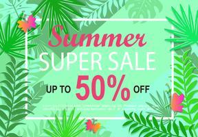 Sommer Super Sale Dschungel Hintergrund.