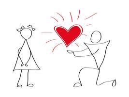 Vektor-Icons von Männern und Frauen am Valentinstag Liebe