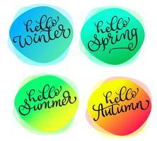 Sats med hälsningskort För alla årstider Hej sommar vår höst vinter. Kort med akvarell rund struktur vektor