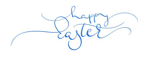 glad påsk blå vektor text på vit bakgrund. Kalligrafi bokstäver illustration EPS10
