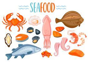 Set av Seafod ikoner i tecknad stil. vektor