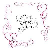 Ich liebe dich Text im roten Rahmen mit Herz vektor