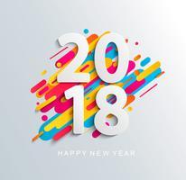 Designkarte des neuen Jahres 2018 auf modernem Hintergrund.