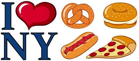Unterschiedliches Essen und ich liebe New York-Zeichen vektor