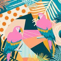 Tropiska djungelbladen och blommoraffischen bakgrund med papegojor vektor