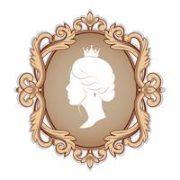 Profilschattenbild einer Prinzessin im Rahmen