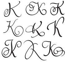 uppsättning konst kalligrafi brev K med blomning av vintage dekorativa whorls. Vektor illustration EPS10
