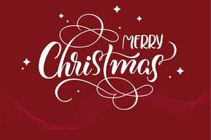 röd semester bakgrund med text God jul. kalligrafi och bokstäver. Vektor illustration EPS10