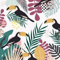 Tropiska djungelbladen och blommoraffischen bakgrund med toucans