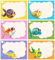 Etikettendesign mit ausgefallenen Fischen vektor