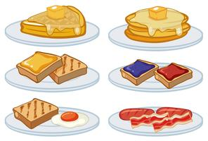 Frukostmeny på tallrikarna vektor
