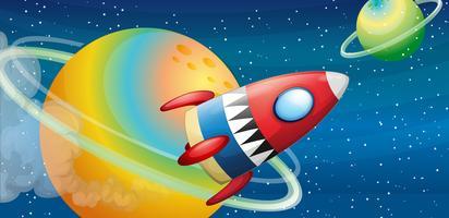 Ett flygskepp nära planeterna vektor