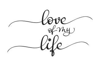 Liebe meines Lebentextes auf weißem Hintergrund. Kalligraphie, die Vektorillustration EPS10 beschriftet