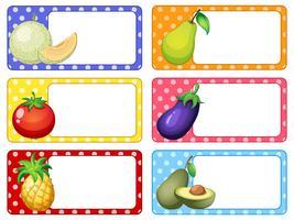 Etikettengestaltung mit Obst und Gemüse