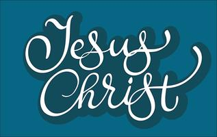 vektor text Jesus Kristus på blå bakgrund. Kalligrafi bokstäver illustration EPS10
