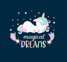 Magische Träume von Einhörnern. vektor