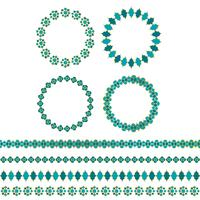 blå guld marockanska cirkelramar och gränsmönster vektor