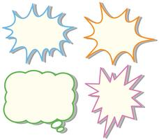 Vier bunte Sprechblasenvorlagen