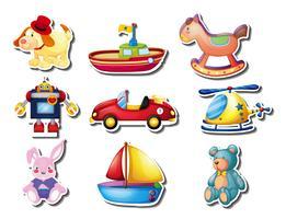 Klistermärke uppsättning av många söta leksaker vektor