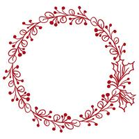 Roter runder Rahmen der Blätter getrennt auf weißem Hintergrund. Vektorabbildung EPS10 vektor