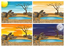 Vattenhål sceen vid fyra olika tider